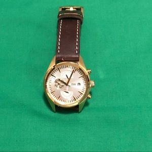 JBW Woodall $655 gold with leather band